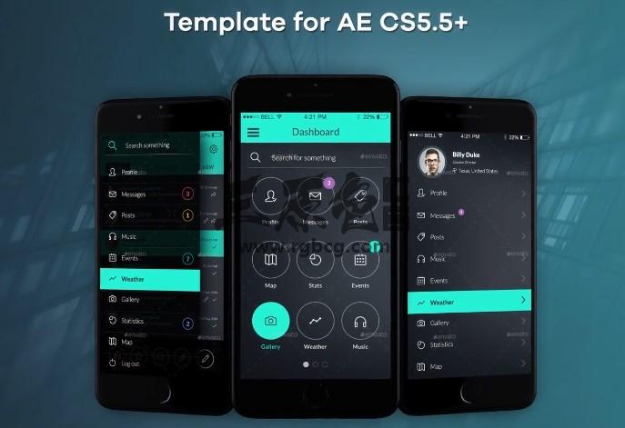 AE模板 APP移动应用程序界面演示 App Presentation Ae 模板-第1张