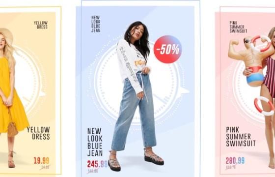 AE模板 时尚创意模特衣服卡片展示动画 Fashion Store Pack