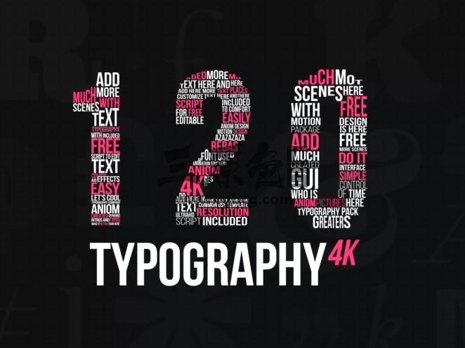 AE模板 - 扁平化文字标题字幕动画排版 Kinetic Typography 4K Package Ae 模板-第1张