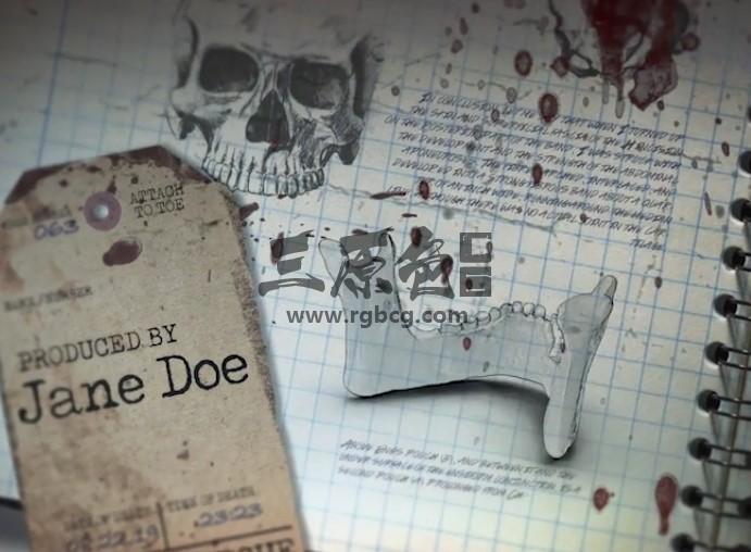 AE模板 恐怖医学人体骨骼笔记 The Morgue Notes Opener Ae 模板-第1张