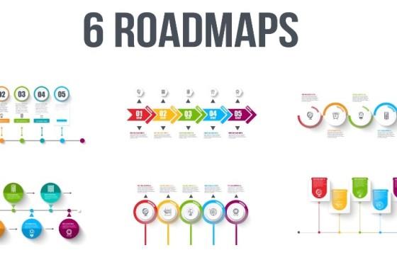 AE模板 6个路线步骤指示说明图动画 Roadmaps Templates