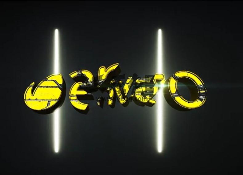 AE模板 三维文字LOGO标志破碎聚合动画片头 Cyber Glitch Logo Ae 模板-第1张