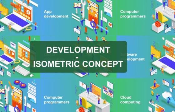 AE模板 数字科技发展概念动画 Digital Development – Isometric Concept