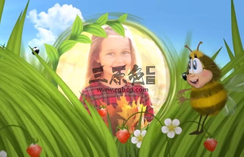 AE模板 有趣的卡通蜜蜂动画幻灯片相册 Funny Bee Slideshow Ae 模板-第1张
