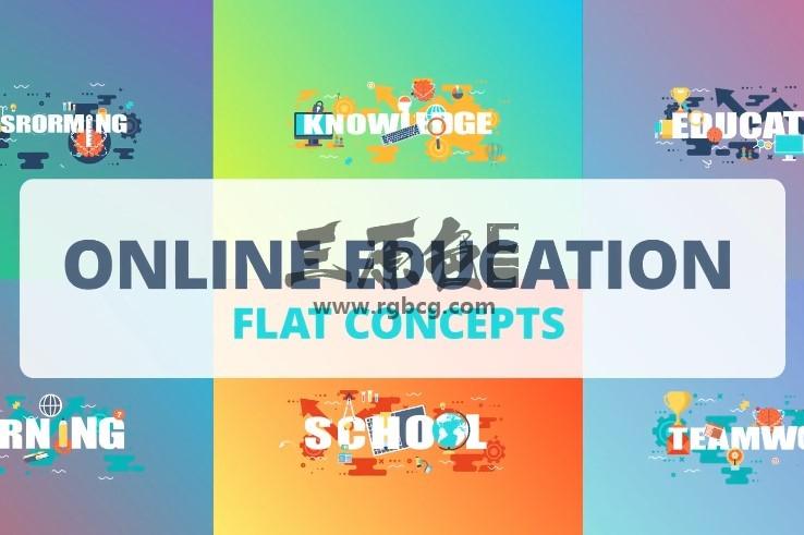 AE模板 - 行业卡通MG图形动画图标 Online Education Ae 模板-第1张
