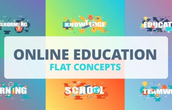 AE模板 – 行业卡通MG图形动画图标 Online Education
