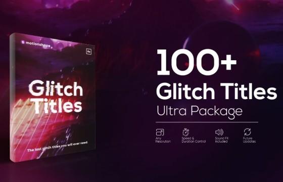 AE模板 – 画面信号不良故障特效文字动画 Glitch Titles Pack