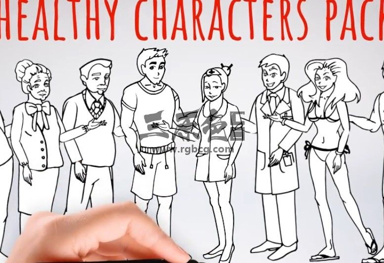 AE模板 卡通黑白简笔画人物形象动画 Healhty Lifestyle Ae 模板-第1张