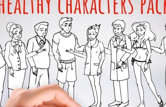 AE模板 卡通黑白简笔画人物形象动画 Healhty Lifestyle
