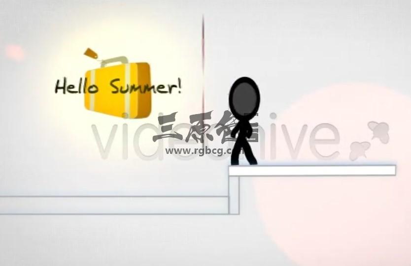 AE模板 - 火柴人卡通动画通知片头 Summer Vacation Notice Ae 模板-第1张