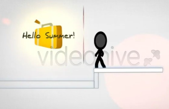 AE模板 – 火柴人卡通动画通知片头 Summer Vacation Notice