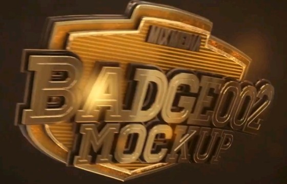 AE模板 – E3D三维文字动画片头 Badge Logo Mockup