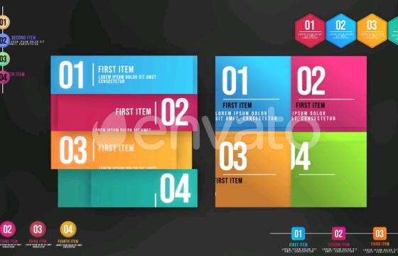 AE模板 信息图动画列表 Infographic Animated Lists