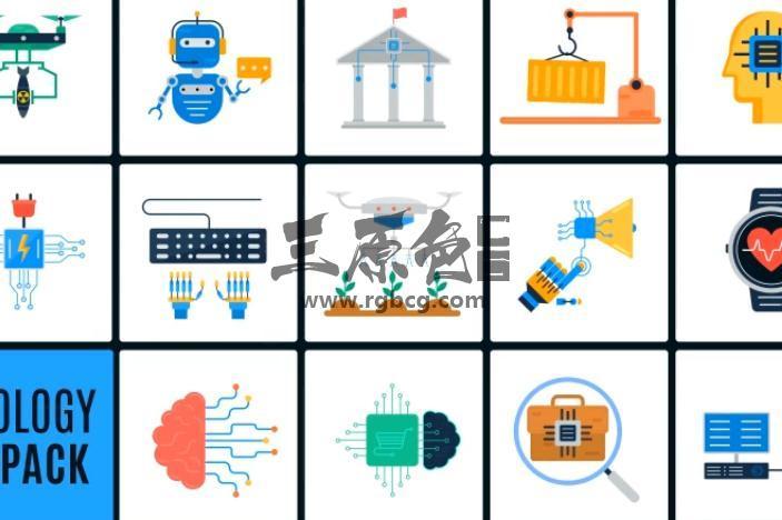 AE模板 现代化人工智能图标动画 Ai Technology Icons Ae 模板-第1张