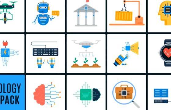 AE模板 现代化人工智能图标动画 Ai Technology Icons