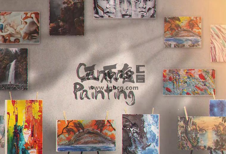 AE模板 创意艺术画三维空间展示 Canvas Painting Gallery Ae 模板-第1张