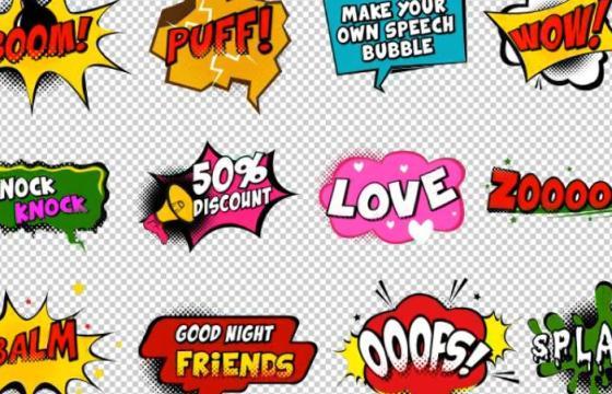 AE模板 卡通搞笑综艺节目 文字字幕效果 Comic Speech Bubbles