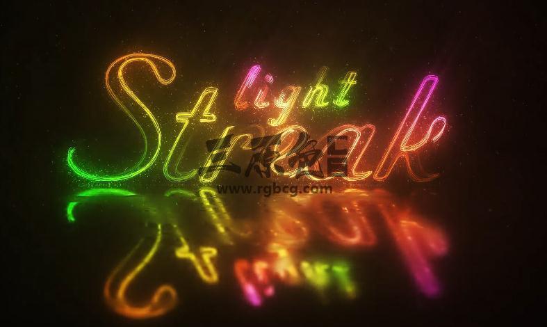 AE模板 彩色霓虹风格文字LOGO效果 Light Streak Logo 4K UltraHD Ae 模板-第1张
