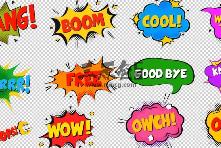 AE模板 卡通搞笑综艺节目 文字字幕效果 Modern Comic Bubbles Ae 模板-第1张