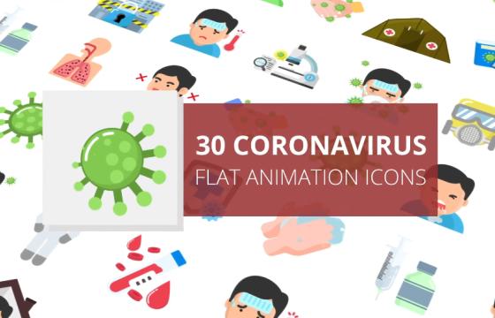 AE模板 新型冠状病毒肺炎病毒图标动画 Coronavirus Flat Animation