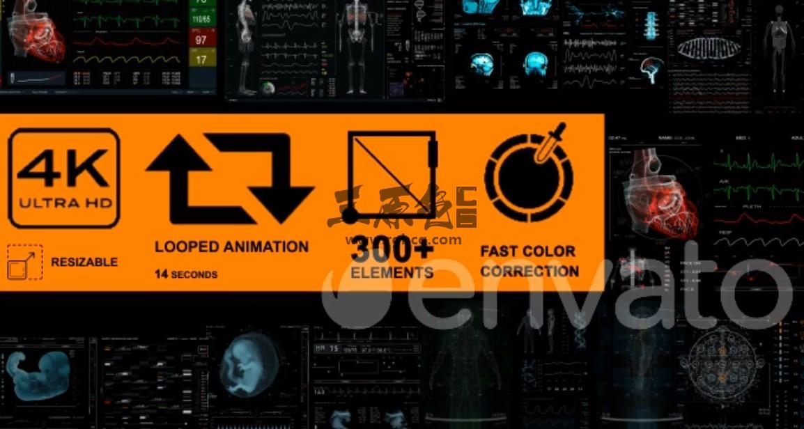 AE模板 HUD科技医疗人体器官素材演示工具包 Medical Pack 18 Screens 300 Ae 模板-第1张
