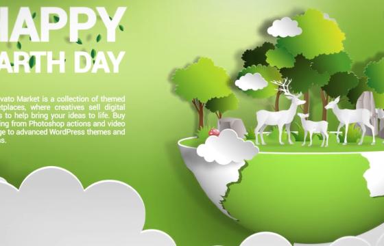 Pr基本图形模板 国际环境日创意剪纸宣传 Environment Day Mogrt