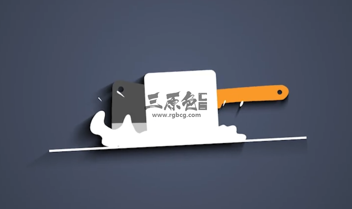 AE模板 MG卡通动画厨刀砍下显Logo动画 Chef Knife Logo Ae 模板-第1张
