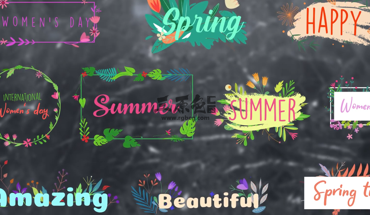 AE模板 - 花草文字标题字幕条排版动画 Flower Titles Ae 模板-第1张