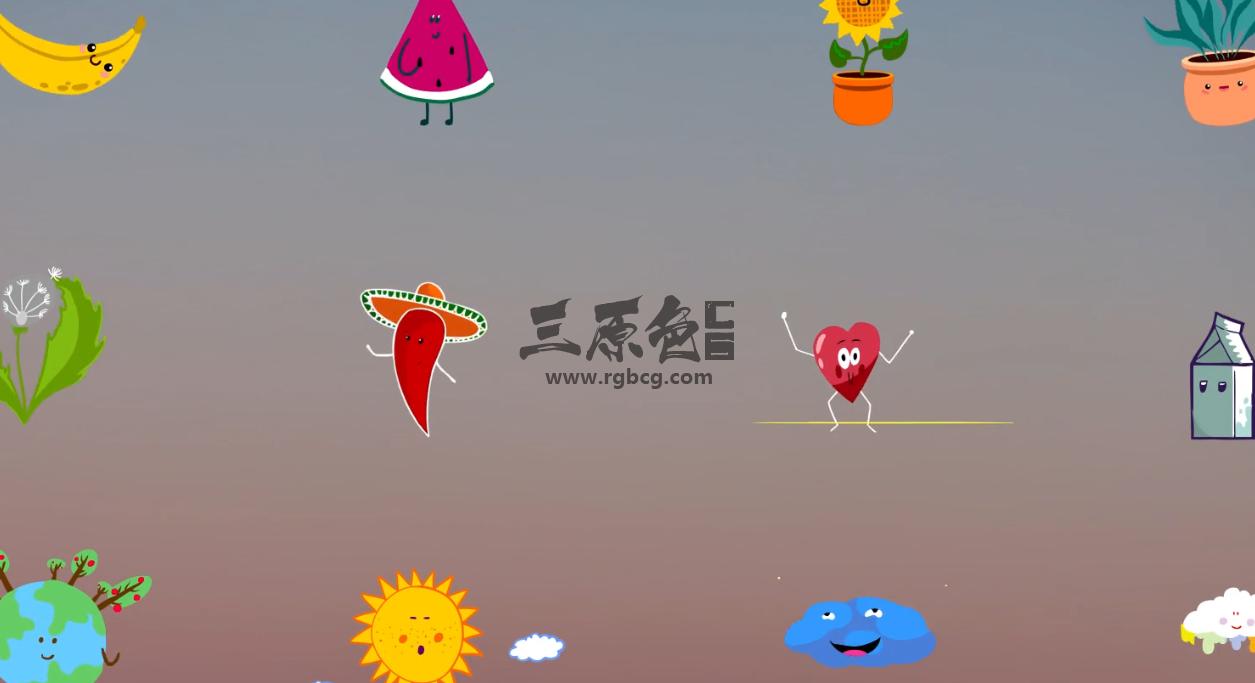 Pr基本图形Mogrt预设模板 - 卡通可爱表情贴纸动画 Nature Emoji Stickers Animations Pr 模板-第1张