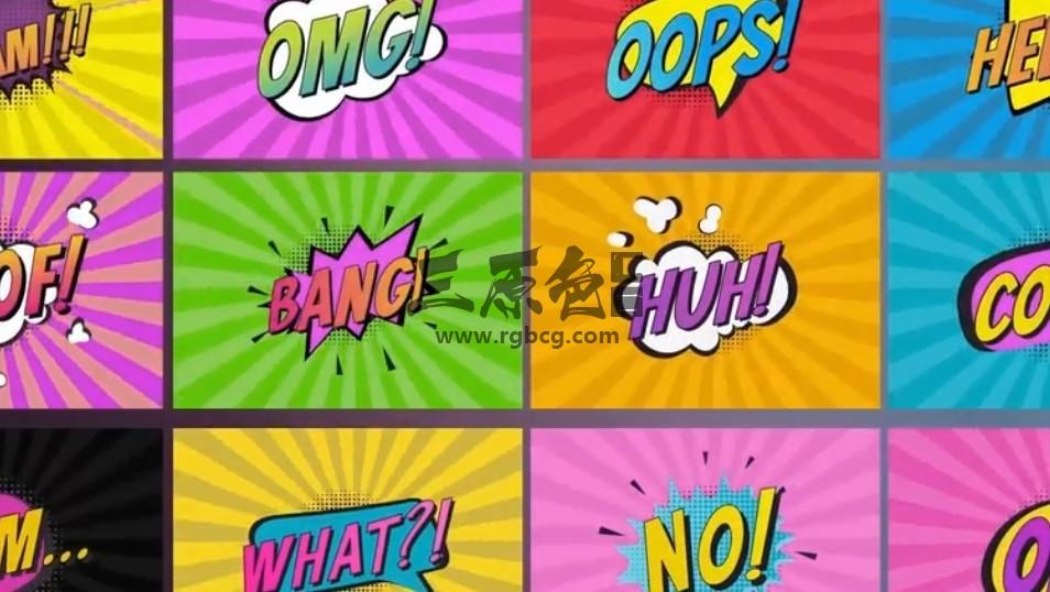 AE模板 综艺节目卡通漫画文字标题字幕动画 Comic Titles Ae 模板-第1张