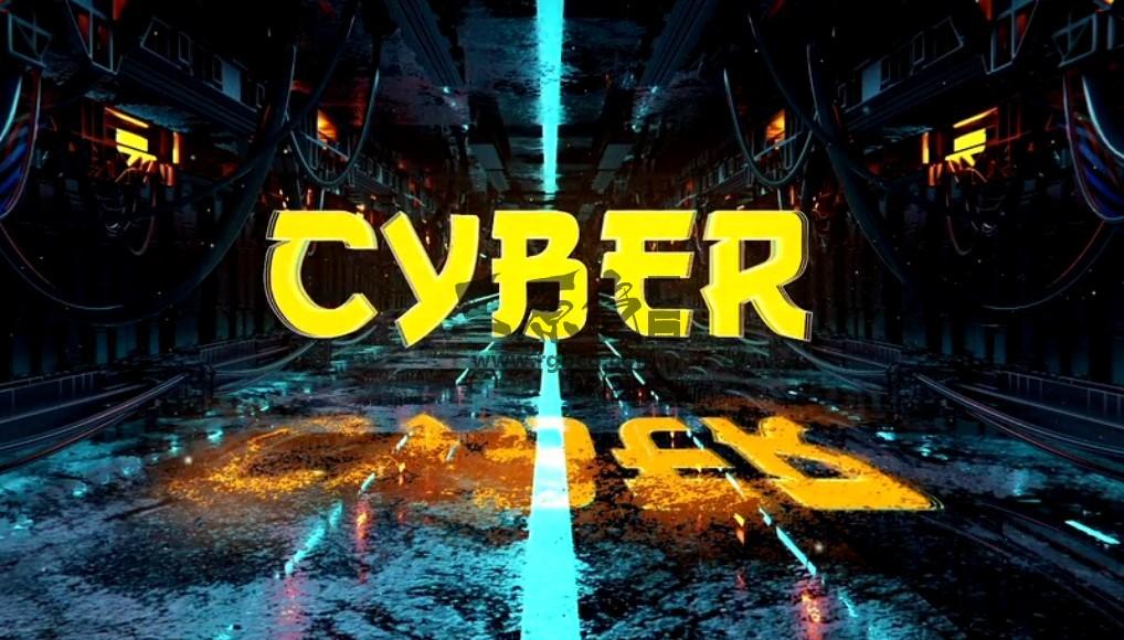 AE模板 赛博朋克科幻隧道标志 Cyberpunk Sci Fi Tunnel Logo Ae 模板-第1张