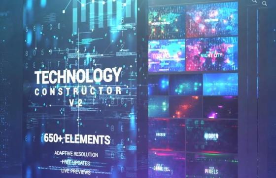 AE扩展模板 科幻和高科技视频动态HUD动画背景 AtomX v3.0.5