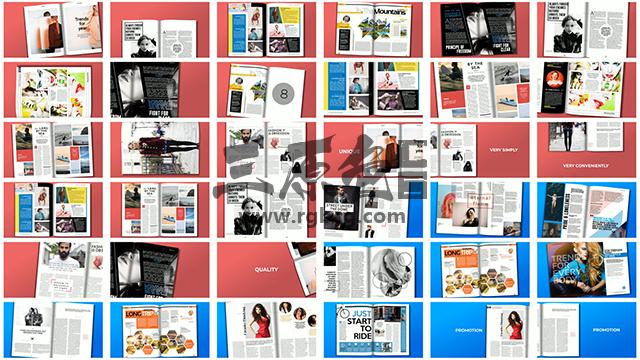 AE模板 700多个预制书本杂志 翻页动画 Premade Magazine Animations Ae 模板-第2张