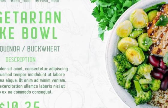 AE模板 绿色新鲜食材食品图文幻灯片宣传 Green Food Promo