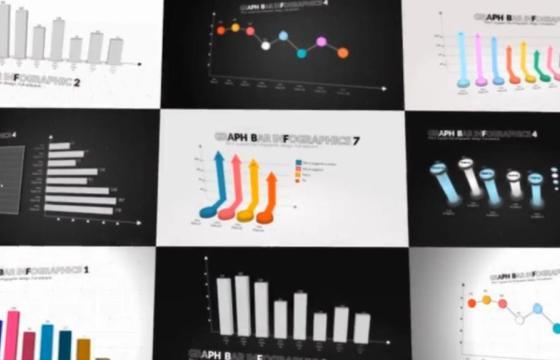 AE模板 三维信息图表对比分析动画 3D Infographics Set 4