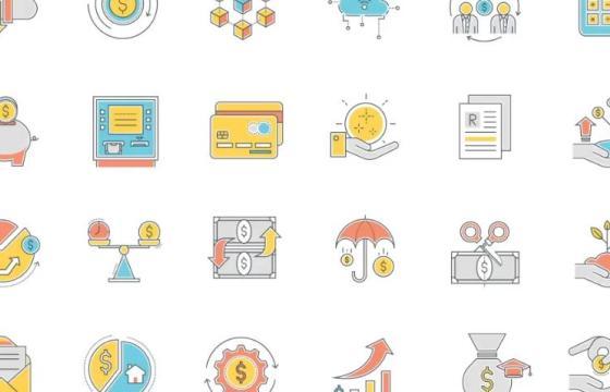 AE模板 – ICO卡通图标动画 金融图标集 Animated Finance Icon Set