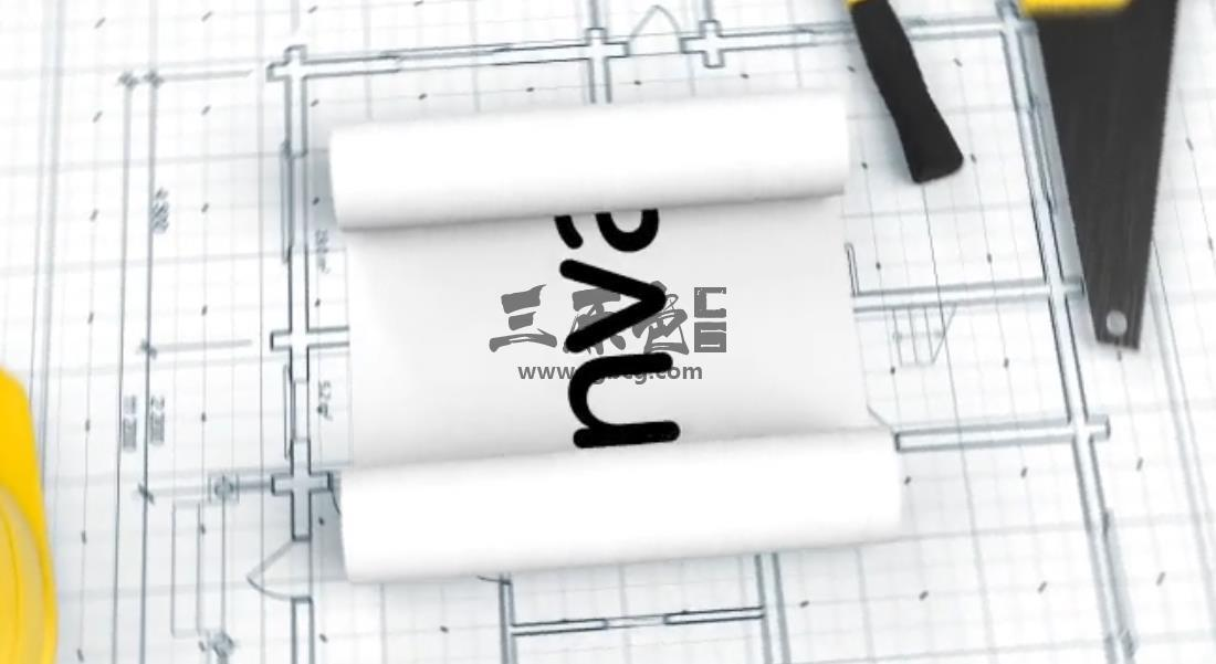 AE模板 建筑草图LOGO标志动画片头 Construction Blueprint Logo Ae 模板-第1张