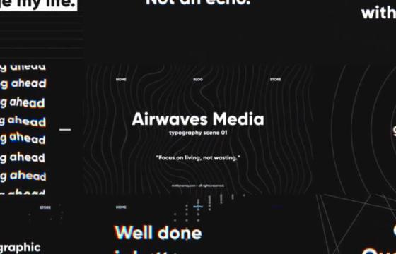 Pr模板 – 黑色文字标题创意排版幻灯片 Dark Typo – Typographic Slides