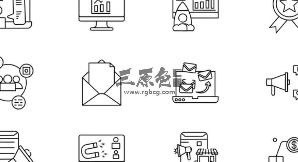 AE模板 - 数字营销线条ICO图标动画 Digital Marketing Line Icons Ae 模板-第1张