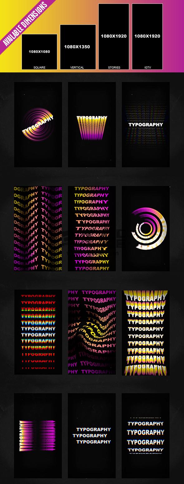 AE模板 - 竖屏版文字标题排版无缝循环动画 Instagram Typography Ae 模板-第1张