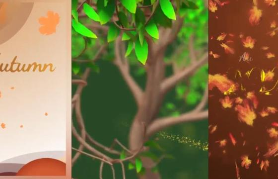 Pr模板 Mogrt预设 秋季风景落叶元素竖屏动画 Autumn Season Instagram Stories