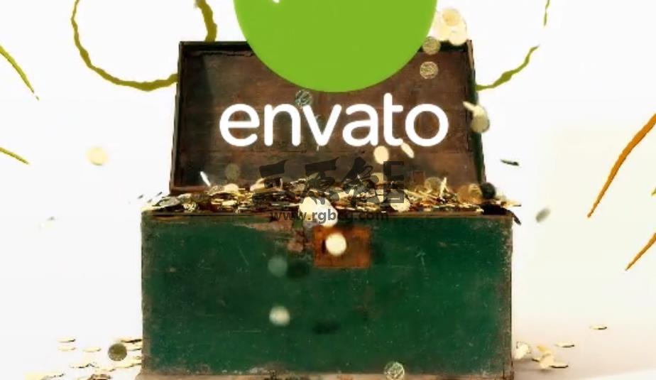 AE模板 盲盒金币LOGO显示片头片尾 Golden Chest Logo Reveal Ae 模板-第1张