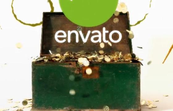 AE模板 盲盒金币LOGO显示片头片尾 Golden Chest Logo Reveal