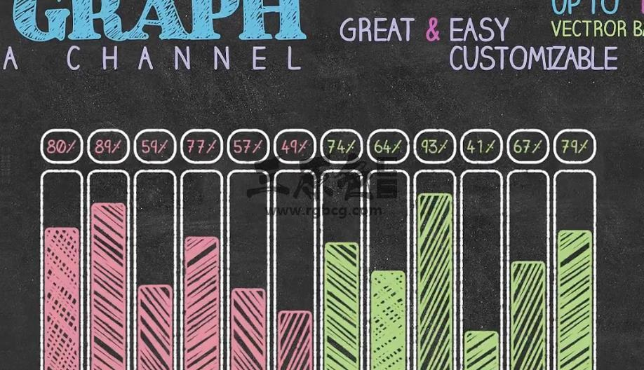 Pr模板 Mogrt预设 黑板粉笔手绘信息图表 Chalkboard Infographics Pr 模板-第1张