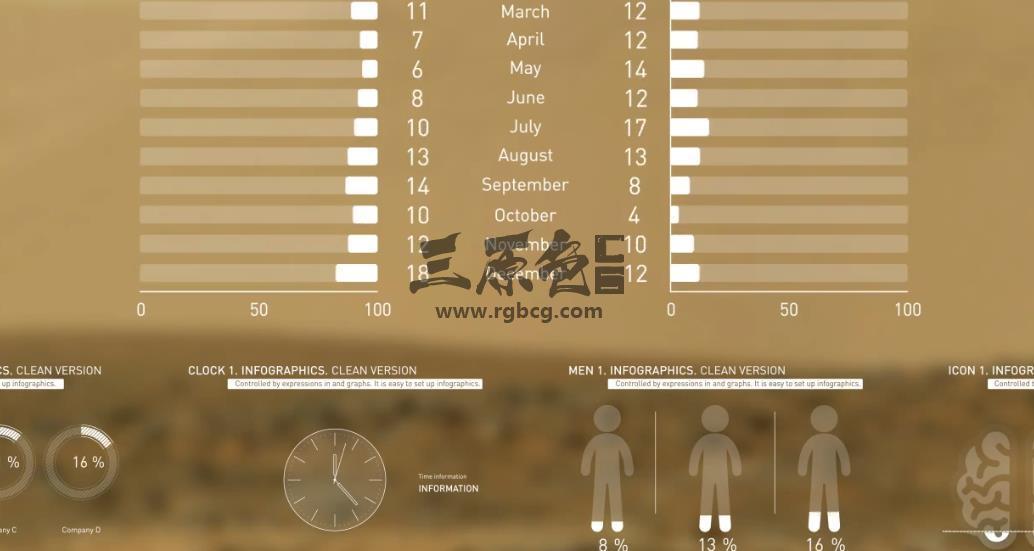 AE模板 - 透明数据信息图表HUD动画 Infographics clean version Ae 模板-第1张