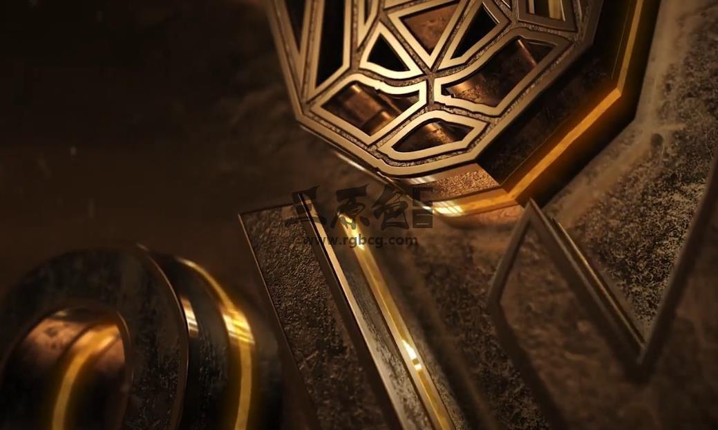 AE模板 - E3D模板 金色质感三维LOGO标志动画片头 Neon Grunge Logo Ae 模板-第1张