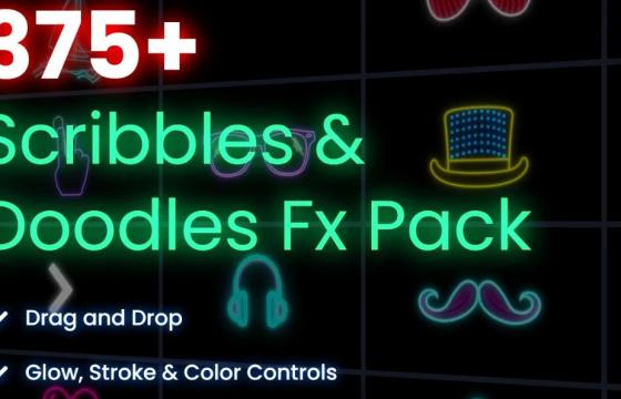 AE模板 – 霓虹灯线条效果潦草涂鸦效果包 Scribbles Doodles FX Pack